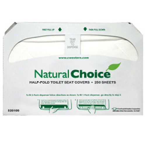 Janitorial - Seat Covers - Natural Choice 1/2 Fold (White) (20 Packs; 250 Sheets per Pack) - CWC-520100 by Miller Supply Inc