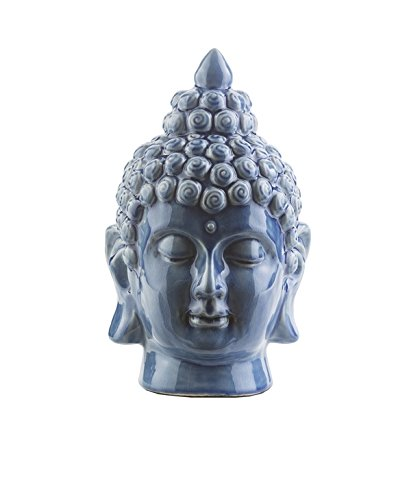 """Diva At Home 7.5"""" Buddha Head Cobalt Blue Glossy Decorative Table Top Statue"""