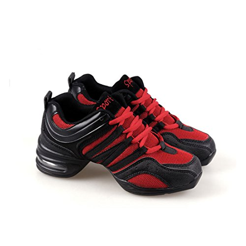 af93fbcf7661 YIBLBOX Womens Mesh Split Sole Jazz Shoes Lace Up Ballroom Dance Sneakers  Trainers for Girls  Amazon.co.uk  Clothing
