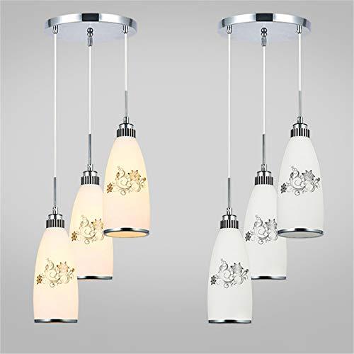 E27 Modern Simple 3 Heads Ellipse Printing Pendant Lights AC 110-220V Cord Pendant Living Room Hang Lamp LED Glass Pendant Lamp ()