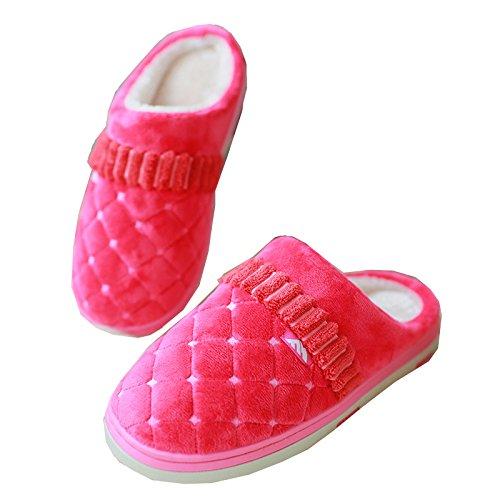 Blubi Donna Peluche Colore Puro Scarpe A Quadri Casa Pantofole Indoor Calzature Da Donna Rosse
