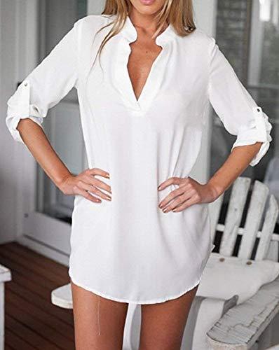 Lannister Blanc Jeune Chic Longue V Printemps Costume Button Manches Fashion Confortable lgant Femme Haut Mode Mode Manche Loisir Avant Irrgulier Longues Chemise Cou Poches Uni Chemise Shirts FAFwr