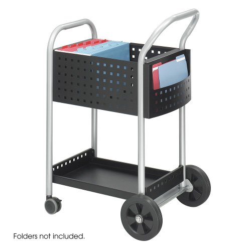 (Scoot Mail Cart, 1-Shelf, 22w x 27d x 40-1/2h, Black/Silver)
