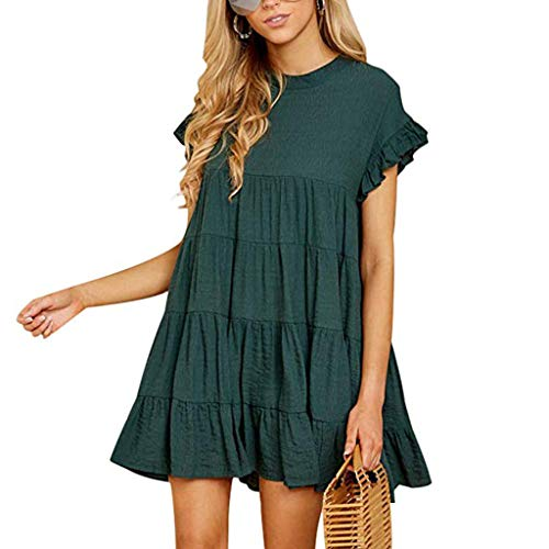 (iCJJL Women's O Neck Ruffle Short Sleeve Tiered Casual Mini Dress Summer Casual Pleated Beach Party Swing Short Sundress Green)