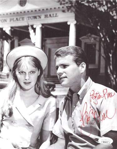 Ryan O'Neal signed 1964 Vintage 8x10 Photo Peyton Place- Hologram #DD39377 (w/Mia Farrow) - JSA Certified