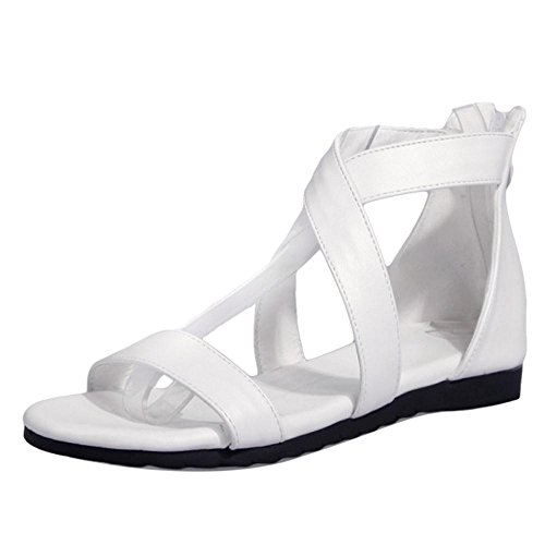 white en Chaussures Femmes Croisee TAOFFEN Sangle Sandales UnYqxfF