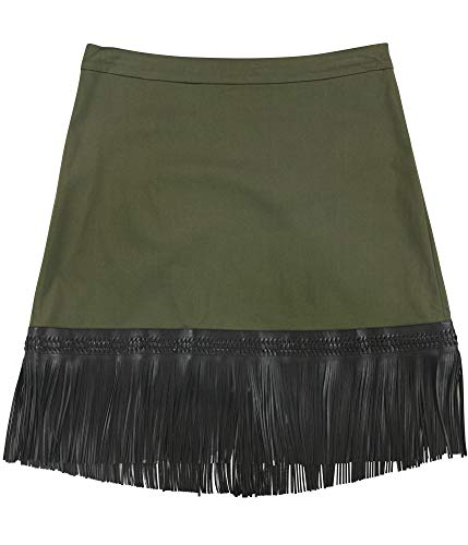 Alexis Womens Faux Leather Fringe A-Line Skirt