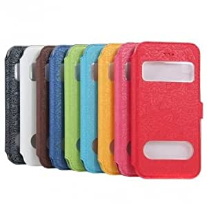 Colorful Caller ID PU Leather Case Cover For iPhone 5C --- Color:Dark Blue