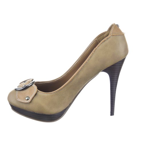 Sopily - Chaussures Décolletées Mode Chaussures Femme Talon Haut 11.5 Cm - Semelle Intérieure Cuir - Kaki