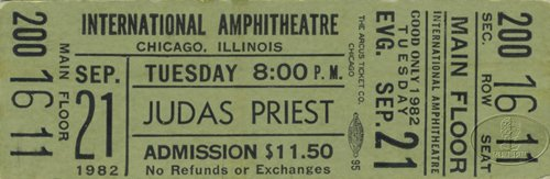 Judas Priest 1982 Chicago Unused Concert Ticket Green