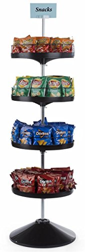 Displays2go, Rotating Tiered Floor Stand, Plastic and Zinc Plated Steel Construction – Black Finish (TRFLDIS4TR) by Displays2go