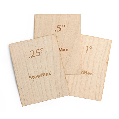StewMac Guitar Neck Shims for Bolt-on Necks, Made of Solid Maple, Blank, Set of 3