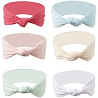 6-Pack Ncmama Baby Headbands Girls Nylon Elastic Knotted Hairband for Toddler Infant
