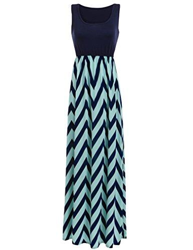 Sherosa Women Boho Chevron Striped Print Summer Sleeveless Tank Long Maxi Party Dress (S, Blue)