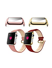 38MM Apple Watch Cases [Two Color Pack], XGUO? Full Coverage Plastic Plated Hard Screen Protective Case Cover For iWatch ¨C Gold & Rose Gold