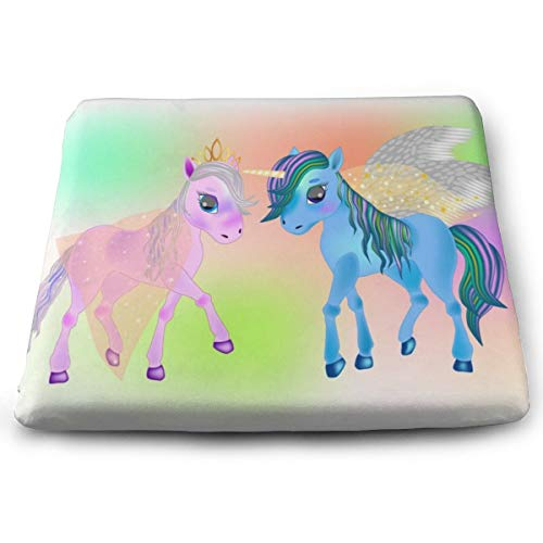 Pamdart Fairy Pegasus and Beautiful Ponies Personalized Square Seat Cushion Memory Cotton Zipper Detachable for Dining Table Patio Chair