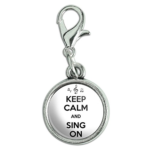 0.5' Disc Charm - Antiqued Bracelet Pendant Zipper Pull Charm with Lobster Clasp Keep Calm and P-Y - Sing On Notes Treble Clef - Keep Calm and