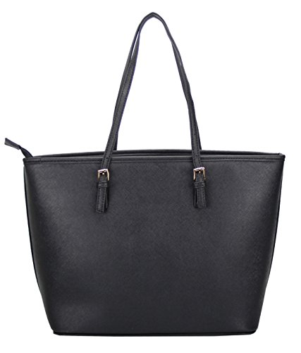 Shopper Bag Tote Handbags amp;HI Zippered LI Black Ladies Shoulder for Women Large Bag Elegant 8fx6S