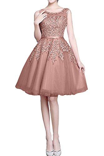 Jugendweihkleider Abendkleider Linie mia Spitze Neu Knielang Kurzes Cocktailkleider Braut Alt Festlichkleider A Rosa La nUWXq00