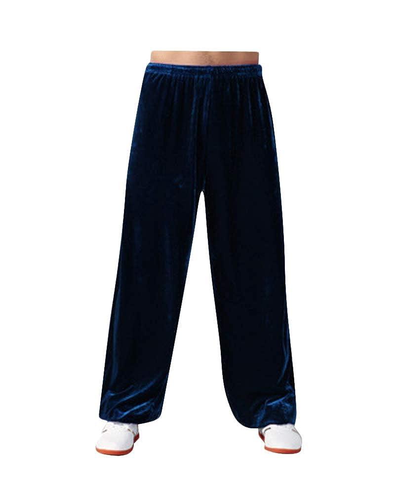 PengGengA Yoga Pantalon Unisexe Taille Plus Jogging Sports Dance Taichi Couleur Pleine Longueur Fitness Respirant