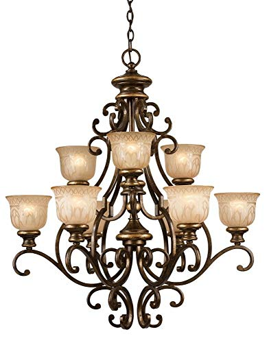 - Crystorama 7409-BU Wrought Iron Nine Light Chandelier from Norwalk collection in Bronze/Darkfinish,
