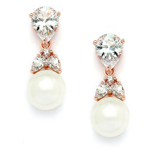 Mariell Blush 14K Rose Gold Plated Pear-Shaped CZ Clip On Wedding Earrings with Ivory Glass Pearl - Trend Glasses Fake