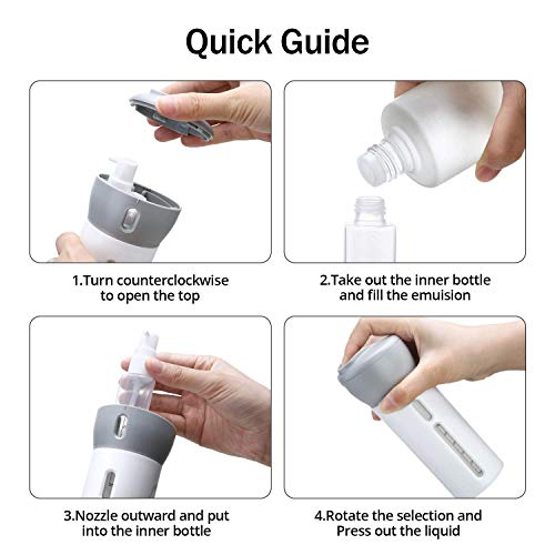 AIRERA 4X40ml Small Empty Pump Bottles, 4in1 Hand Sanitizer Dispenser, Leak Proof Compact Portable, Refillable Hand Soap/Liquid/Lotion/Cosmetic Container Kit for Daily Use/Gym/Travel with Labels(Gray)