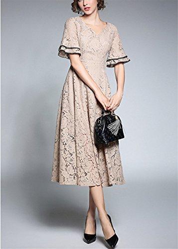 Donna con Flare Vestito Manica Pizzo Elegante Scollo Lungo Cerimonia Abito Oudan Patchwork V Cachi Donna Hw0qCf