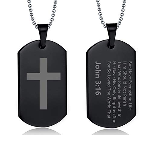 - LiFashion LF Mens Womens Stainless Steel Bible Verse Cross Dog Tag Necklace IP Black Plated Bible John 3 16 Scripture Christan Cross Pendant Jewelry Teen Adult Baptism
