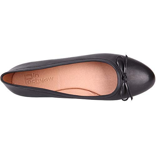 Pinpochyaw Ballet Flats for Women Slip On Flat Leather Shoes with Bows(8 B(M) US, Black)