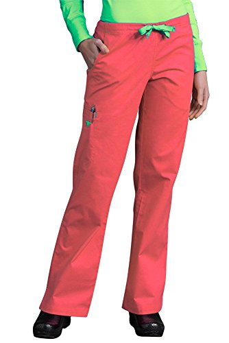 (Med Couture Women's Gigi Boot Leg Scrub Pant, Apricot/Key Lime, Large)