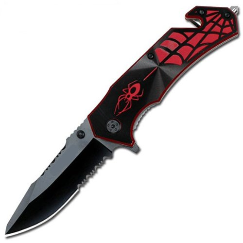 Assisted Black and Red Spider Rescue Knife, Outdoor Stuffs