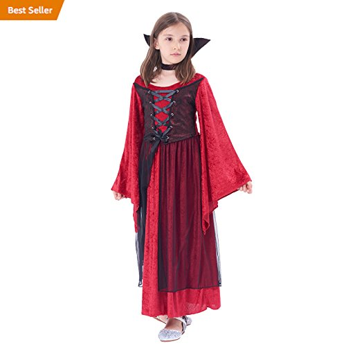 IKALI Girl Vampire Costume Outfit, Princess Fancy Dress Up Gown for Halloween Party