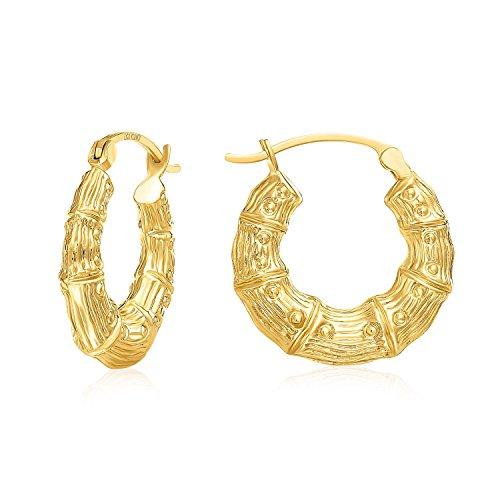 - MCS Jewelry 10 Karat Yellow Gold Bamboo Style Hoop Earrings (Diameter: 20 mm)