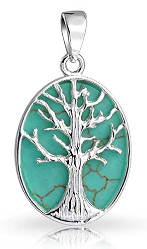 Family Tree Of Life Celtic Pendant Enhanced Turquoise Oval Wishing Tree Necklace For Women 925 Sterling Silver 1 In ()