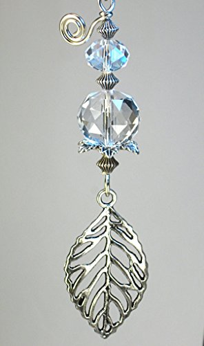 - Openwork Silvery Leaf with Crystal Clear Faceted Glass Ceiling Fan Pull/Light Pull Chain