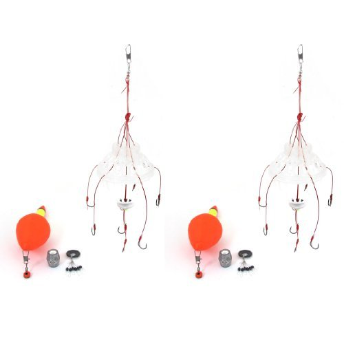 Orange Pêche Bobber Effacer poisson Bait Cage w # 14 Hameçon Tackle Set