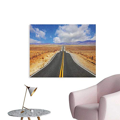 - Anzhutwelve United States Wallpaper Highway in California Steppe and Clouds Asphalt Road Horizon Hills Journey Custom Poster Multicolor W36 xL24