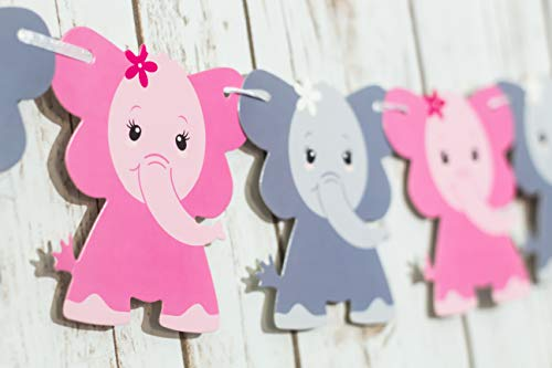 Elephant Baby Shower Decorations | Girl Baby Elephant Shower Decorations | Baby Shower Decorations | Pink & Gray Elephant Baby Shower Decorations | Elephant Garland | Elephant Nursery Decor (Pink) ()