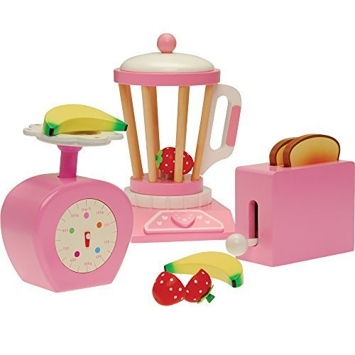 Constructive Playthings 5097877 Wood Pretend Play Kitchen Accessory Set with Scale, Toaster and Blender/13 Piece, Grade: kindergarten to 3 (Toaster Play Pretend)