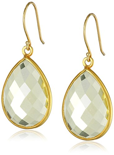 Gold-Plated Sterling Silver Faceted Lemon Quartz Teardrop (Lemon Quartz Earrings)