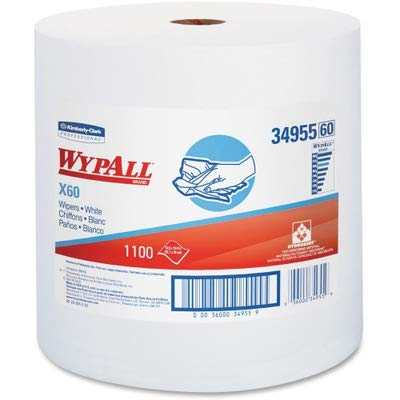 WypAll 34955 X60 Cloths, Jumbo Roll, White, 12 1/2 x 13 2/5, 1100 Towels/Roll