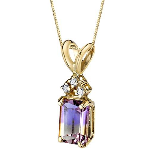 - 14 Karat Yellow Gold Emerald Cut 1.00 Carats Ametrine Diamond Pendant