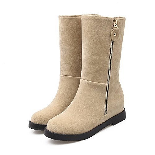 Round Boots Frosted Beige Solid Heels WeiPoot Women's Low top Kitten Toe Closed H6qnEx5Cvw