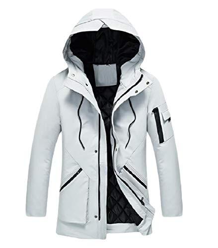 Grey Windproof Pocket Coat Mens Outdoor Zipper RkBaoye Thickened Hooded Casual 14Hzxxw