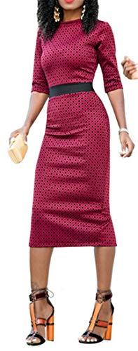 Pencil Midi Party Waist Women's Wine Sexy Dress Printed Empire Red Sheath Cromoncent qO8x0ww