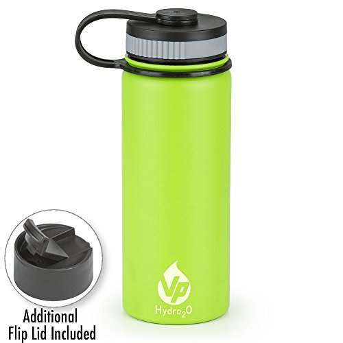 VP Hydro2o Double-Walled Vacuum Insulated 18/8 Stainless Steel Power Coated Water Bottle Includes Flip Top and Wide Mouth Lid, 18oz. (Lime Green)