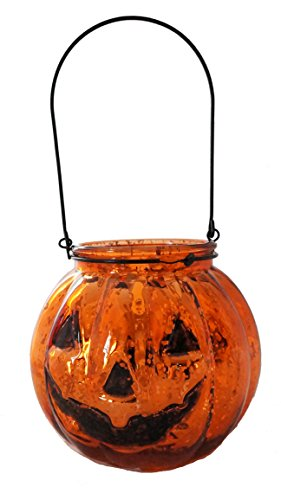 3 Inch Orange Mercury Glass Jack Olantern Pumpkin Halloween Candle Holder