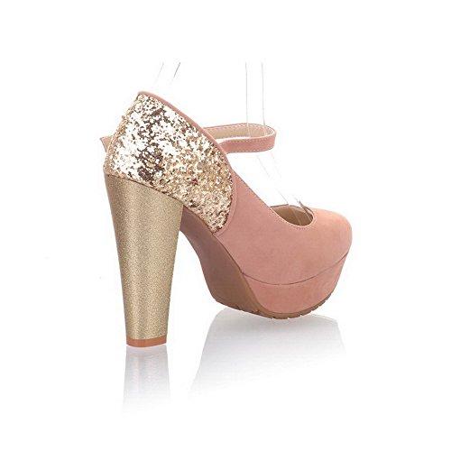 AllhqFashion Damen Gemischte Farbe Blend-Materialien Hoher Absatz Schnalle Pumps Schuhe Pink