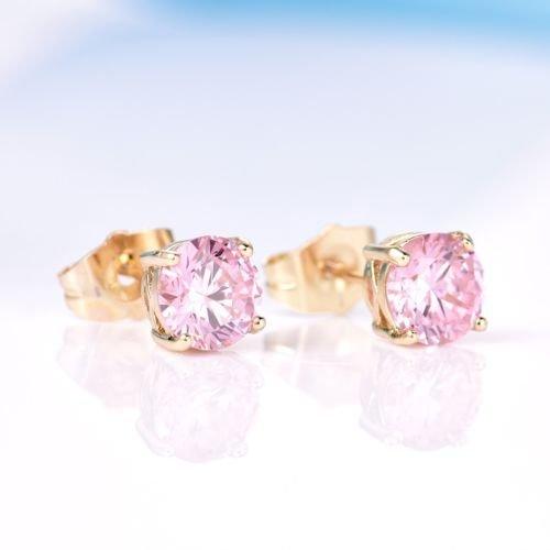 - Gozebra(TM) Girls 18K Gold Filled Charms Round Pink Topaz Crystal Rhinestone Stud Earrings